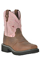 Justin® Gypsy™ Kids Distressed Brown w/Pink Top Saddle Vamp Square Toe Western Boot