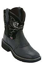 Justin® Gypsy™ Kid's Black Saddle Vamp w/ Winged Heart Top Square Toe Western Boots
