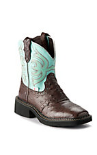 Justin® Gypsy™ Kid's Brown Ostrich Print w/ Blue Teal Top Square Toe Western Boots