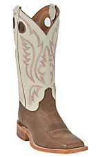Justin® Bent Rail™ Men's Chocolate Brown w/ Ivory White Top Square Toe Western Boot
