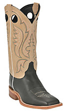Justin Bent Rail Men's Black with Toast Brown Square Toe Western Boots