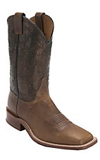 Justin Bent Rail Men's Tan Maddog w/Cobre Metallic Top Double Welt Square Toe Western Boots