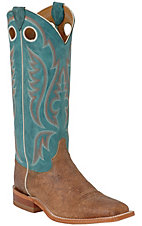 Justin® Bent Rail™ Men's Brown Mad Cow w/ Blue Top Square Toe Western Boot