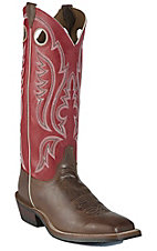 Justin® Bent Rail™ Men's Arizona Mocha Brown w/ Red Tall Top Square Toe Western Boot