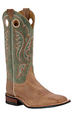 Justin Bent Rail Men's Arizona Tan Brown w/ Sage Green Top Square Toe Western Boots