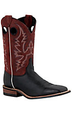 Justin® Bent Rail™ Men's Black with Red Crackle Square Toe Western Boots