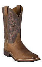 Justin Bent Rail Mens Old Map Brown w/ Chocolate Top Square Toe Western Boot