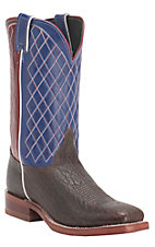 Justin Bent Rail Men's Rootbeer Yeti w/ Blue & Red Top Double Welt Square Toe Western Boots
