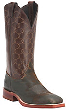 Justin Bent Rail Men's Dark Brown Tiger Eye w/Brown Maze Top Double Welt Square Toe Western Boots