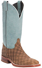 Justin Bent Rail Men's Briar Checkmate w/ Denim Maze Top Double Welt Square Toe Western Boots