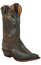 Justin Bent Rail Ladies Distressed Dark Brown Fancy Stitch Snip Toe Western Boot