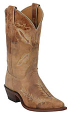 Justin Bent Rail Ladies Distressed Tan Brown Fancy Stitch Snip Toe Western Boot