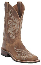 Justin® Bent Rail™ Ladies Tan Damiana Fancy Stitch Wide Square Toe Double Welt Western Boots