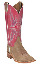 Justin Bent Rail Ladies Tan w/ Hot Pink Top Square Toe Western Boot