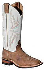 Justin® Bent Rail™ Ladies DIstressed Tan w/ Ivory Top Square Toe Western Boot