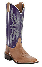 Justin® Bent Rail™ Ladies Vintage Tan w/ Purple Top Square Toe Western Boots