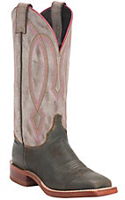 Justin Bent Rail Women's Brown Tiger Eye with White Scribble Top Double Welt Square Toe Western Boot