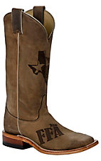 Justin® Mens Tan Brown Distressed Texas FFA Laser Cut Square Toe Western Boots