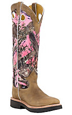 Justin® Ladies Distressed Brown w/ Pink Camo Top Square Toe Snake Proof Boots