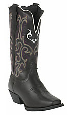 Justin® Ladies Black Deercow Stampede Square Toe Boot