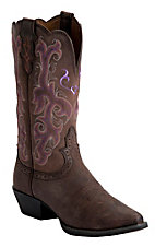 Justin Ladies Chocolate Puma Cowhide Snip Toe Rubber Sole Western Boot