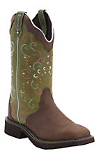 Justin Gypsy Women's Walnut Brown w/Green Top Triad Square Toe Western Boots