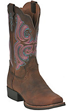 Justin® Stampede Collection™ Ladies Dark Brown Rawhide Punchy Toe Western Boot