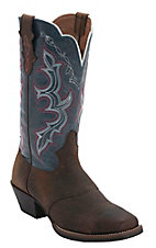 Justin® Stampede Collection™ Ladies Dark Brown w/Denim Top Punchy Toe Western Boot