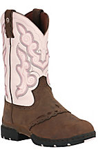 Justin 3.1 Ladies Brown & Pink Waterproof Slip-On Work Boot