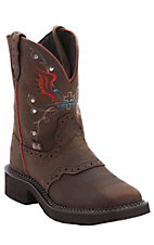 Justin Gypsy Collection Aged Bark Brown Saddle Vamp Square Toe Western Fashion Boots