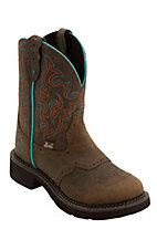 Justin Gypsy Women's Barnwood Brown w/ Turquoise Round Toe Western Boots
