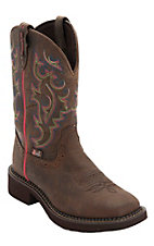 Justin Gypsy Women's Distressed Brown Buffalo Waterproof Square Toe Western Boots