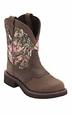 Justin� Gypsy Collection? Ladies Distressed Brown w/Pink True Timber Camo Top Round Toe Western Boots