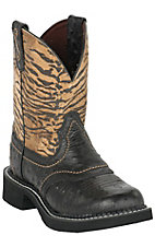 Justin Ladies Gypsy CollectionBlack w/ Golden Zebra Tops