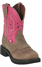 Justin Ladies Gypsy Collection Boots Brown w/ Fuschia 8