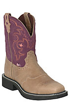 Justin® Ladies Square Toe Gypsy Collection – Brown w/Purple Top