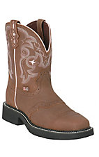 Justin Ladies Square Toe Gypsy Collection ? Brown w/White Stitch