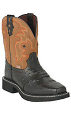 Justin® Gypsy™ Ladies Black Ostrich Print w/ Tan Top Square Toe Western Boots