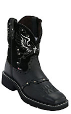 Justin Women's Black Deercow w/ Silver Rivets Square Toe Gypsy Collection