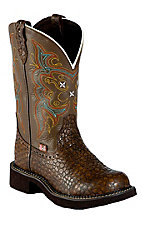 Justin� Gypsy Collection? Ladies Brown Pearl Print Cowhide Round Toe Boots