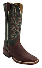 Justin AQHA Remuda Mens Brandy Smooth Ostrich w/ Dark Green Top Exotic Square Toe Boots