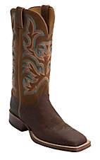 Justin® AQHA Remuda™ Mens Antique Saddle Smooth Ostrich w/ Brandy Jurassic Goat Top Exotic Square Toe Boots