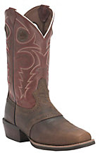 Justin Men's Silver Collection Galaxy Whiskey Buffalo Saddle Vamp Punchy Square Toe Western Boots