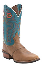 Justin Men's Silver Collection Tan Buffalo Saddle Vamp with Turquoise Top Punchy Toe Western Boots