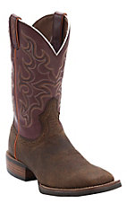 Justin Men's Silver Collection Copper Buffalo with Maroon Top Double Welt Square Toe Western Boots