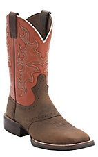 Justin Men's Silver Collection Brown Buffalo with Orange Top Double Welt Saddle Vamp Square Toe Western Boots