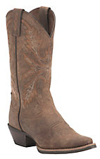 Justin Ladies Silver Collection Brown Crazy Horse Goat Snip Toe Western Boots