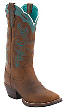Justin Ladies Silver Collection Brown Buffalo with Turquoise Detail Punchy Toe Western Boots