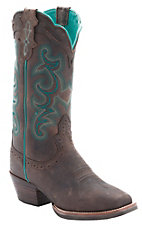 Justin Ladies Silver Collection Chocolate Buffalo with Turquoise Stitching Punchy Toe Western Boots