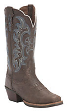 Justin Ladies Silver Collection Brown Kneaded Cow with Blue Detail Punchy Toe Western Boots